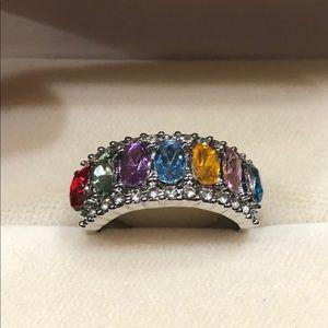 NEW•Women's multi gemstone silver band sz 9